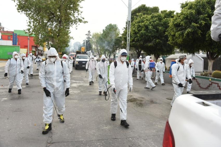 Realizan sanitización masiva en calles de Tula